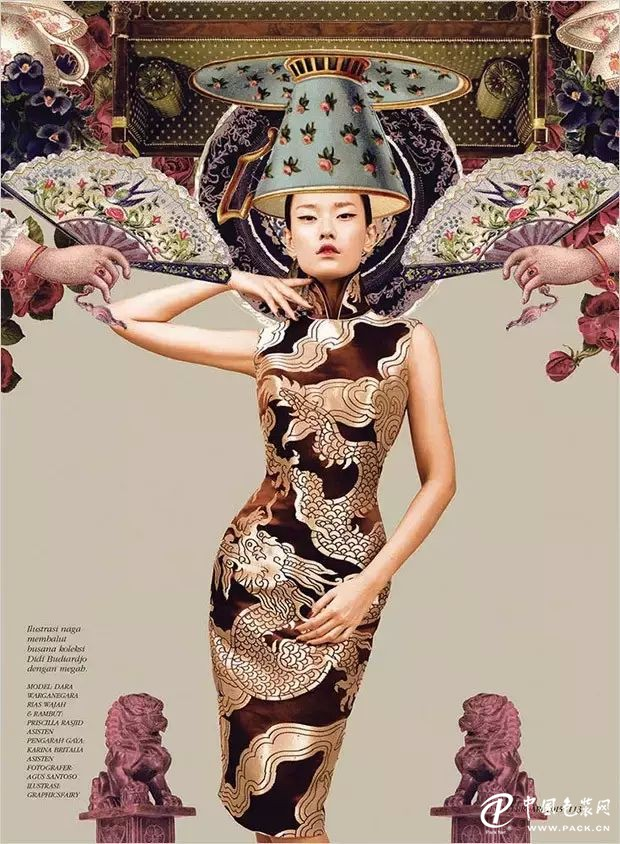 剪贴画中的旗袍女子